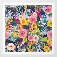 Autumn Blooms Colorful Painted Floral Print // Navy