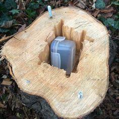 Wood log hide - #geocaching #geocache.