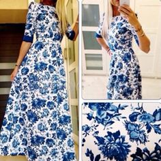 Blue Floral Round Neck Elbow Sleeve Maxi Dress