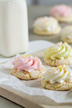Frosted Cake Mix Cookies. Adorable little gems. Easy peasy recipe too.