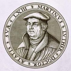 An engraving of Martin Luther at age 63, based on a woodcut by Lucas Cranach the Elder.