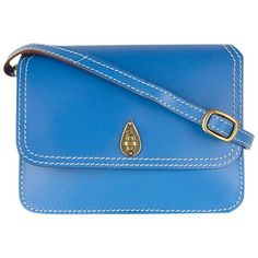 Tula Saddle Small Flapover Across Body Bag (£59) ❤ liked on Polyvore featuring bags, handbags, shoulder bags, blue, blue leather shoulder bag, genuine leather shoulder bag, blue shoulder bag, leather handbags and blue leather purse