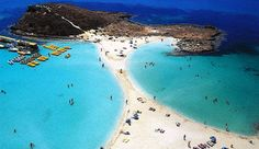 Nissi Beach in Cyprus. Look at the golden sands and turquoise waters