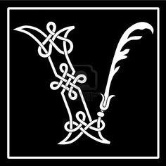V Celtic knot-work letter