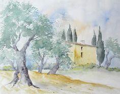 Olivenhain in der Toskana - Aquarell - Original - 24 x 30 cm