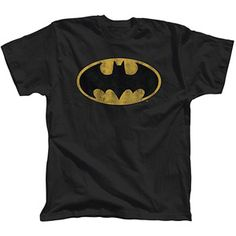 Batman Distressed Logo Men's Tee Shirt ~ $7.50 ~ Im going to turn it into a no sew, tied, halter top