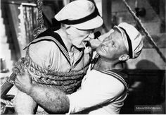 Popeye - Publicity still of Robin Williams & Ray Walston Popeye Movie, Popeye Cartoon, Popeye And Olive, Popeye The Sailor Man, Captain My Captain, Comics Toons, Robert Williams, Favorite Cartoon Character, Cult Movies