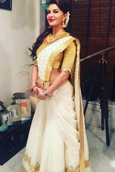 Lehanga Saree, Half Saree Lehenga, Saree Dress, Kerala Engagement Dress, Engagement Dresses, South Indian Wedding Saree, Saree Wedding, Onam Saree, Half Saree Designs