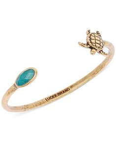 Lucky Brand Gold-Tone Green Stone and Turtle Cuff Bracelet