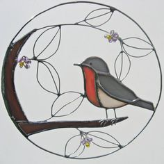 European Robin Stained Glass and Wire Stained by FiveSparrows, $30.00