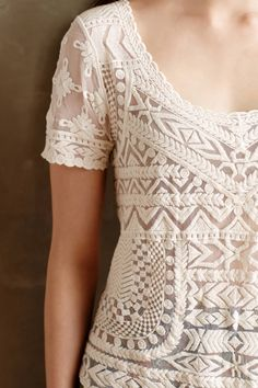 Embroidered Mesh Tee | anthropologie