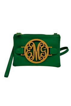 Oso perfectly Green and gold monogrammed wristlet, customizable to your initials. Monogram Hats, Monogram Jewelry, Bae, Women's Wristlets, Custom Purses, Wallets For Women, Green And Gold, Leather, Initials