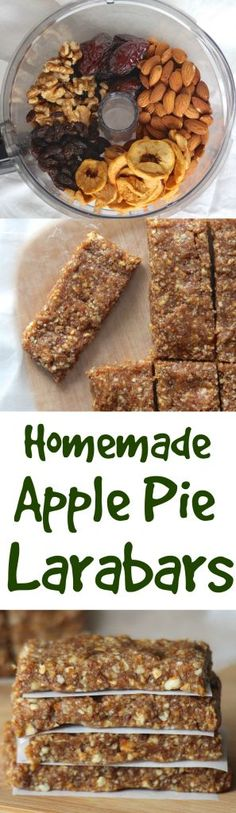 Homemade Apple Pie Larabars - Healthy Liv Homemade bars with almonds, dates, raisins, & cinnamon! Healthy Bars, Healthy Desserts, Raw Food Recipes, Snack Recipes, Healthy Recipes, Healthy Breakfasts, Eating Healthy, Clean Eating, Snacks Saludables