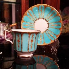 Antique Jeweled Cup and Saucer England
