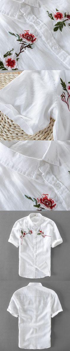 100% Linen shirt men short sleeve shirt mens summer white flax shirts men brand clothing casual male shirts camiseta chemise