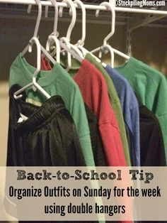 By simply using a can tab you can organize outfits on Sunday for the week using this double hanger method. #MorningHacks #Johsonville #ad