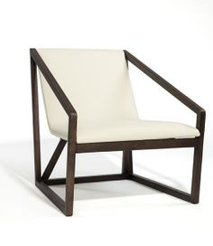 Modern Wood and Leather Lounge Chair
