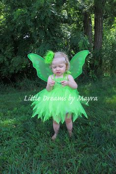 Tinkerbell inspired tutu dress with wings by LittledreamsbyMayra