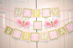 Butterfly Happy 1st Birthday Banner, Birthday Party, Butterfly Theme, Hot Pink, light Pink and Green Theme on Etsy, $28.00
