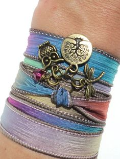Owl Silk Wrap Bracelet Yoga Jewelry Tree by BohemianEarthDesigns, $29.95