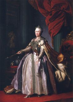 Empress Catherine the great. painted by Dmitri Levitski, the Empress  directs his imperial sceptre towards the Crown, Orb and bust of the Emperor Peter the great. The painters famous and anonymous created multiple copies of these portraits, which were hung in official residences of provincial governors, as well as education and social institutions that were under the patronage of the Empress. This portrait of  three meters was given in 1788 the British Adviser to the Empress.
