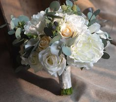 Ivory Peonies Roses Bridal Bouquet Real Touch Roses Calla