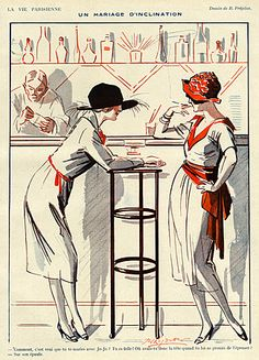 La Vie Parisienne Magazine plate Image Courtesy of The Advertising Archives: http://www.advertisingarchives.co.uk Vintage, illustrations, covers, artwork, Retro, French magazines, Art Deco, Art Nouveau, 1920s, bars, drinks, cocktails, friends, talking