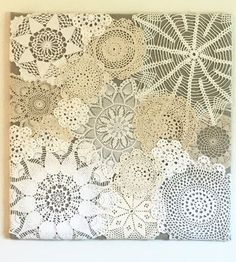 This one of a kind doily collage will add vintage charm to your home! Made with plywood, fabric, and vintage doilies. Measures 24x24. This piece is only representative of your made to order product. It is not the product that will be shipped. Background fabric can be customized. Final product will be photographed and sent to customer before being shipped out.
