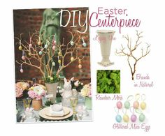 Create this Easter Centerpiece!  (1.) Fill the bottom of the vase with sand or stones to weight it down (2.) Place floral foam over the stones  (3.) Push the branches into the foam  (4.) Cover the foam with reindeer moss  (5.) Hang decorations from the branches.