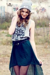 girly streetstyle = skull design sleeveless tee, skirt, bonnets and a gorgeous wave, tousled hair