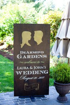 Do this on second mirror for ceremony entry - Add on for wedding signage - print out inscription in desired font on computer on either burlap or brown craft paper.  Adhere to wood for sign.