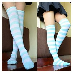 Fashion Women Cotton Over the Knee Socks Girls Thigh High Striped Stockings Sexy ColorsBlueWhite -- Visit the image link more details.