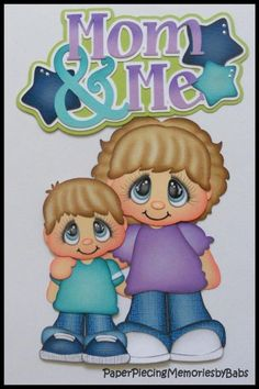 Premade Paper Pieced Boy Mom and Me Set for Scrapbook Pages-by Babs