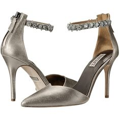 Badgley Mischka Flash II High Heels, Pewter ($102) ❤ liked on Polyvore featuring shoes, sandals, pewter, high heel shoes, ankle strap sandals, ankle strap high heel sandals, pewter shoes and pewter sandals