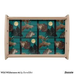 Shop Wild Wilderness Serving Tray created by FarrellArt. Natural Wood Finish, Tree Forest, Wild Nature, Animal Skulls, Food Gifts, Gifts For Dad, Wilderness, Pink And Green, Create Your Own