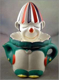 Ceramic Figural Green Clown Juicer Reamer