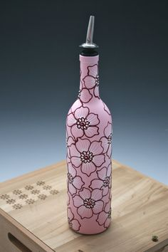 Hand Painted Wine bottle Olive Oil Pourer, Bright Pink with Dark pink and white flowers, Olive Oil Dispenser
