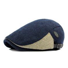 Men Woolen Knitted Beret Cap Adjustable Buckle Newsboy Cabbie Hat Beanie  Hats 7407016d1153