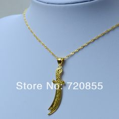 Imam Ali Sword Muslim Islam Allah Gold Jewelry 18k gold plated Arabic pendant chain womens and men girl unisex
