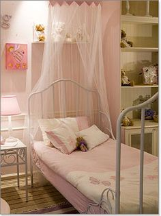 pretty pink - white iron bed