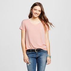 Women's Short Sleeve Softest V-Neck Tee Pink Xxl - Mossimo Supply Co.