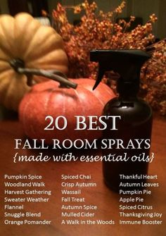 LOVE the smell of fall, but not the chemicals found in most air fresheners and candles? Try these easy diy recipes for all-natural fall room sprays {made with essential oils}... pumpkin spice, mulled cider, woodland walk, orange pomander, autumn crisp, harvest gathering, and more by savannah