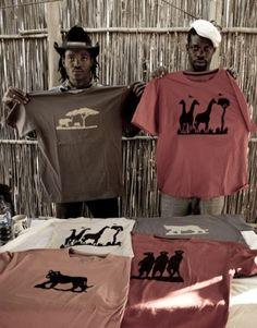 t-shirts silkscreen make by Arts For Conservation studio, Botswana