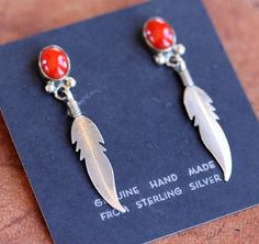 NativeIndianMade.com - Navajo Sterling Coral Earrings by Nakai