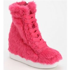 NWT JEFFREY CAMPBELL SNEAKER WEDGES FUR TROLL PINK Never worn! Jeffrey Campbell Shoes Platforms