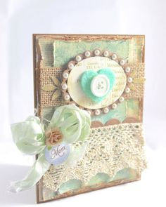 Mother's Day Card Shabby Chic Card Love you Mom by CardamomsArt