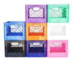 Shop at DormCo for our 16 Quart Dorm Milk Crate that is available in 8 colors! Our dorm milk crate has two easy to reach handles so you can utilize the top shelf or the floor in your dorm closet by adding these dorm room storage solutions!