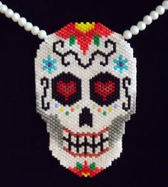 Sugar Skull Day of the Dead Beaded Necklace by BeadsOfDarkness