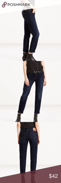 Levi's Dark Wash High Rise Jeans These boyfriend style jeans are the ultimate casual jean. They have a button fly detail and a slouchy yet structured look. They look super cute rolled at the bottom with boots. Super comfortable and easy to work. Style is 505. Would fit best on a size 4 for a slouchy look or a 6 for a more fitted look. The jeans shown from the website photos are NOT the same jeans I have posted myself, they are just similar. They are just used to show a close example of what…