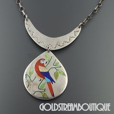 NATIVE AMERICAN R.N. LACONSELLO ZUNI STERLING SILVER MULTI GEMSTONE INLAY RED PARROT NECKLACE 18.5""